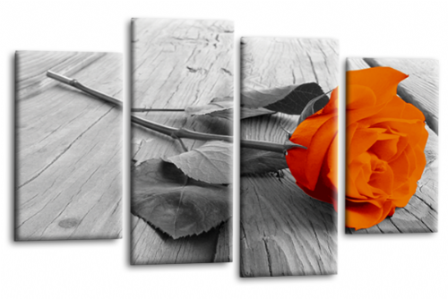 Orange Rose Floral Wall Art Flower Split Panel Canvas Picture Print